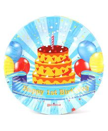 Karmallys Paper Plates Happy First Birthday Print Pack Of 10 - Blue