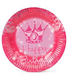 Disney Paper Plates Happy Birthday Print Pack Of 10 - Pink