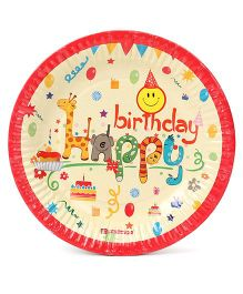 Disney Paper Plates Happy Birthday Print Pack Of 10 - Multi Color