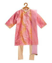 Campana Ethnic Kurti & Churidar With Dupatta Set - Pink & Gold