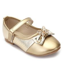 Cute Walk By Babyhug Belly Shoes Embellished Bow Applique - Golden