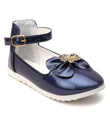 Cute Walk By Babyhug Belly Shoes Embellished Bow Applique - Navy
