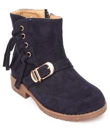 Cutewalk By Babyhug Mid-Calf Length Boots With Buckle And Fringes - Dark Blue