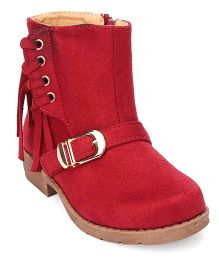Cutewalk By Babyhug Mid-Calf Length Boots With Buckle And Fringes - Maroon