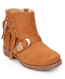 Cutewalk By Babyhug Mid-Calf Length Boots With Buckle And Fringes - Light Brown