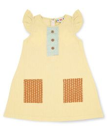 Popsicles Clothing By Neelu Trivedi Patch Pocket Linen Shift Dress - Cream