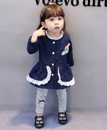 Pre Order - Lil Mantra Self Polka Dots Frill Design Top And Stripe Pant Set - Blue