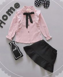 Pre Order - Lil Mantra High Neck Collar Tie Top And Skirt Set - Pink & Black