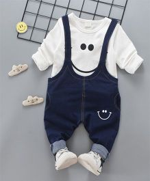 Pre Order - Superfie Smiley Dungaree Style Set - White & Blue