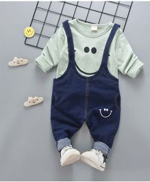Pre Order - Superfie Smiley Dungaree Style Set - Green