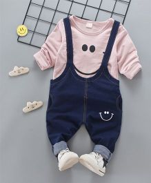 Pre Order - Superfie Smiley Dungaree Style Set - Pink