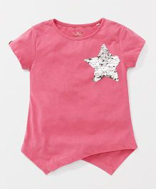 Vitamins Short Sleeves Top With Star Sequin Design - Pink