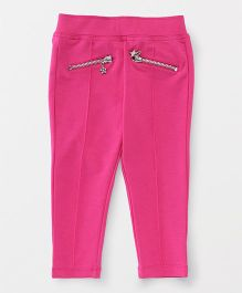 Vitamins Full Length Solid Jegging With Pocket Zip - Pink