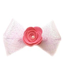 Reyas Accessories Rose Applique Bow Hair Clip - Pink