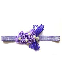 Reyas Accessories Rose Design Pearl Floral Headband - Purple