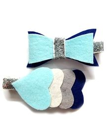 Reyas Accessories Set Of Heart & Bow Alligator Hair Clip - Blue & Silver