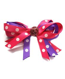 Reyas Accessories Polka Dot Bow Knot Hair Clip - Pink & Purple