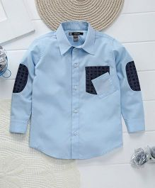 Kidology Double Pocket Shirt - Light Blue & Navy