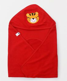Simply Hooded Wrapper With Tiger Patch - Red