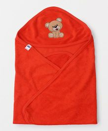 Simply Hooded Wrapper With Bear Patch - Orange