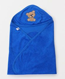 Simply Hooded Wrapper With Bear Patch - Blue