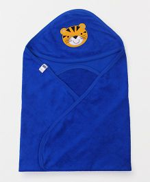 Simply Hooded Wrapper With Tiger Patch - Blue