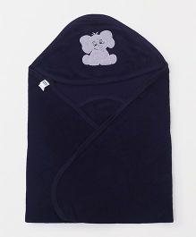 Simply Hooded Wrapper With Elephant Patch - Navy Blue