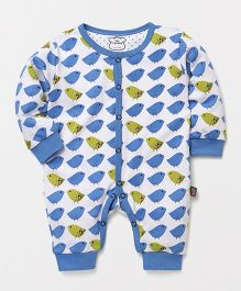 Mini Taurus Full Sleeves Romper Bird Print - Blue White