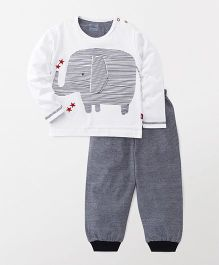 Mini Taurus Full Sleeves T-Shirt And Lounge Pants Elephant Print - White Black