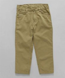Babyhug Straight Fit Trouser With Adjustable Elastic Waist - Beige