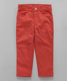 Babyhug Full Length Trouser With Adjustable Elastic Waist - Coral