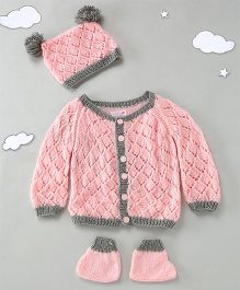 The Original Knit Sweater Set With Cap & Booties - Pink