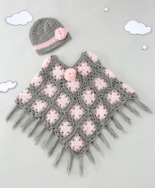 The Original Knit Comfy Poncho - Gray& Pink
