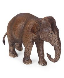 Schleich Asian Female Elephant Toy Figure Brown - Length 11.5 cm