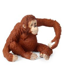 Schleich Female Orangutan Toy Figure Brown - Length 5 cm