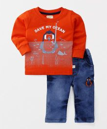 Olio Kids Full Sleeves T-Shirt And Jeans Set Save My Ocean Print - Orange Blue