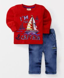 Olio Kids Full Sleeves T-Shirt And Jeans Set Captain Print - Red Blue