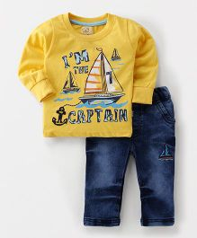 Olio Kids Full Sleeves T-Shirt And Jeans Set Captain Print - Yellow Blue