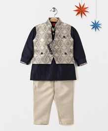 Ethnik's Neu Ron Kurta Jacket And Pajama Set - Navy Blue