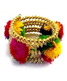 Akinos Kids Multi Color Pom Pom Cuff Kada  - Multicolor