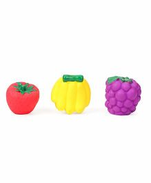 Ratnas Squeaky Bath Toys Fruits Pack Of 3 - Purple Red Yellow