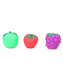 Ratnas Squeaky Bath Toys Fruits Pack Of 3 - Green Red Purple