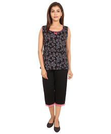 9teenAgain Maternity Nursing Top And Capri Paisley Print - Black Pink