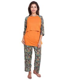 9teenAgain Raglan Sleeves Top And Pajama Leaves Print - Orange Brown