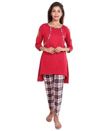 9teenAgain Cold Shoulder Maternity Nursing Top And Check Pajama - Red White