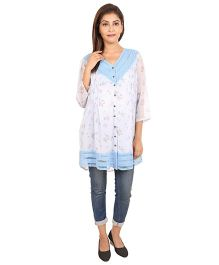 9teenAgain Maternity Tunic Top Floral Print - White Blue