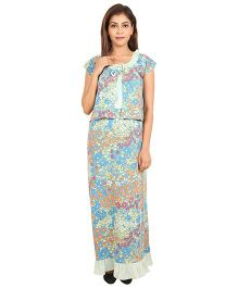 9teenAgain Maternity Nursing Nighty Floral Print - Sky blue