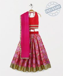 Kids Chakra Diamond Ghagra Choli - Red & Pink