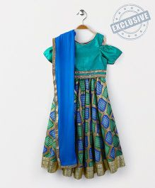 Kids Chakra Diamond Ghagra Choli - Green