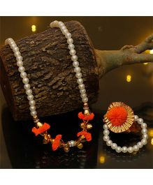 D'Chica Pretty Pom Pom & Ghungroo Jewelry - Orange